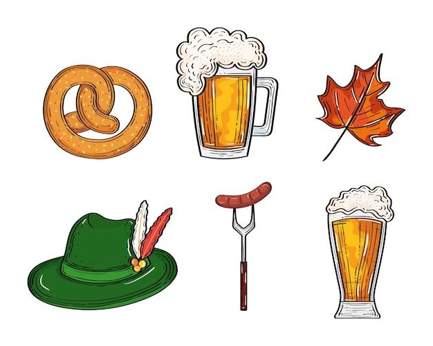 Precel i kiełbasa z kieliszkami do piwa na kapeluszu widelca i liściach, festiwal oktoberfest niemcy i motyw obchodów