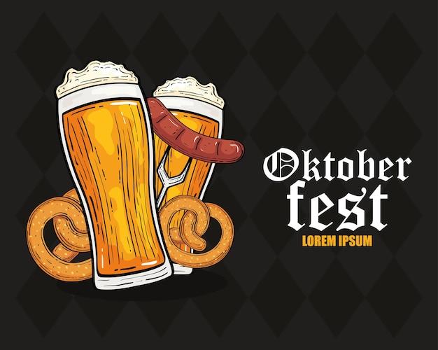 Precle szklanki piwa i kiełbasa na designie widelca, festiwal oktoberfest niemcy i motyw uroczystości
