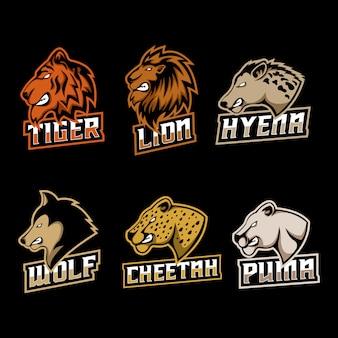 Predator zestaw logo ilustracji wektorowych