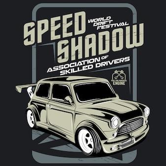 Prędkość cień, festiwal driftu, ilustracja driftowego samochodu sportowego