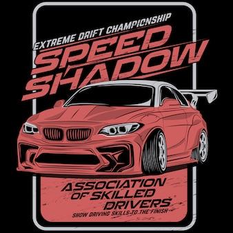 Prędkość dryfowania cienia, wektorowe ilustracje samochodowe