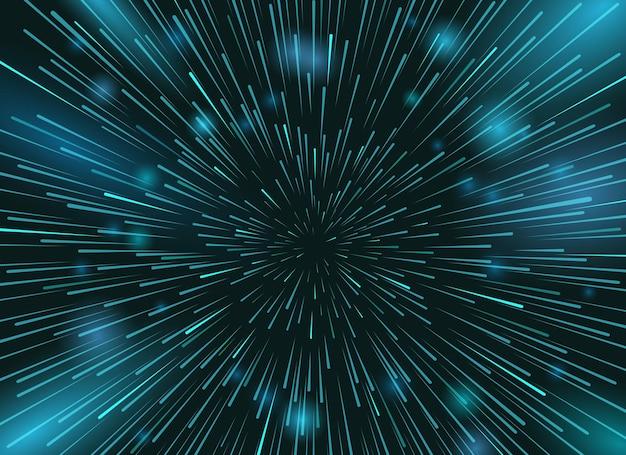 Prędkość gwiazd w tle kosmosu. światła gwiazd w akcji nocnego nieba. pośpiech w przestrzeni promienistej