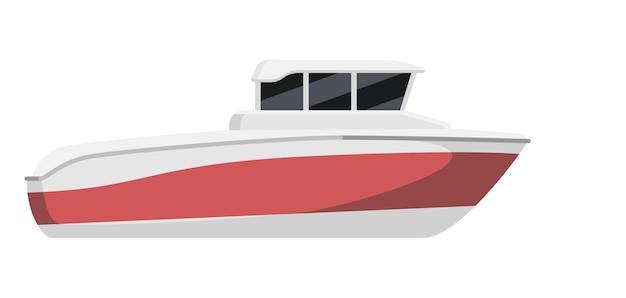 Prędkość łodzi motorowej promu na białym tle