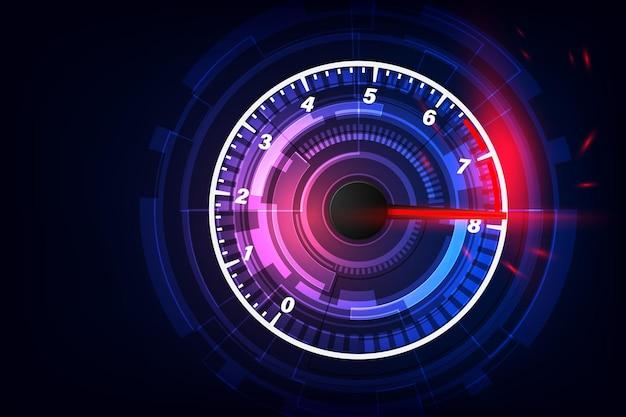 Prędkość ruchu tło z szybkim prędkościomierzem samochodu. tło prędkości wyścigów.