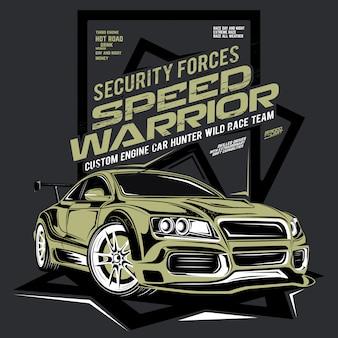 Prędkość wojownik, ilustracja super szybki samochód