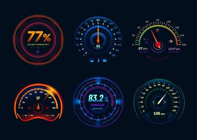 Prędkościomierz, neonowe diody led, strzałki i wskaźniki słupkowe