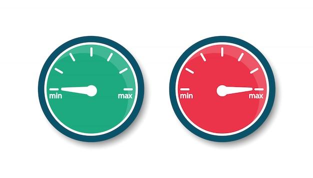 Prędkościomierz od minimum do maksimum. szybkość internetu. wskaźnik ikony. płaski styl.