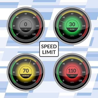 Prędkościomierz prędkości deski rozdzielczej samochodu panele ilustracji wektorowych zestaw miernika technologii kontroli ograniczenia prędkości ze strzałką lub wskaźnikiem.