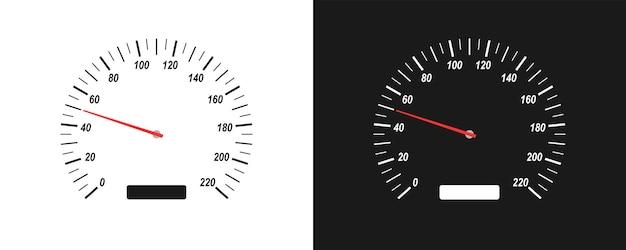 Prędkościomierz samochodowy na białym i czarnym tle. urządzenie do pomiaru prędkości. ilustracja wektorowa na białym tle w stylu płaski