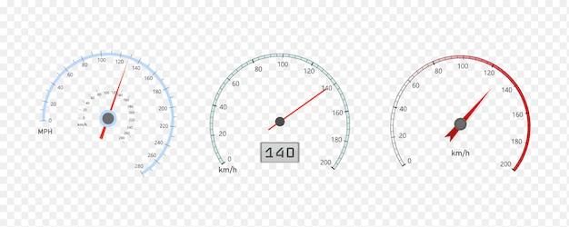 Prędkościomierz samochodowy ze skalą poziomu prędkości lub obrotomierz
