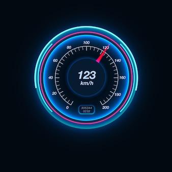 Prędkościomierz samochodu z podświetleniem