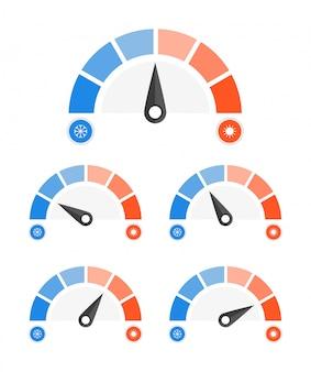 Prędkościomierz ustawić ikonę zimną i gorącą.