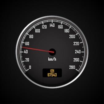 Prędkościomierze. okrągły czarny wskaźnik z chromowaną ramką. wektorowa ilustracja 3d