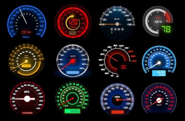 Prędkościomierze, skale wskaźnika prędkości na desce rozdzielczej dla auto.