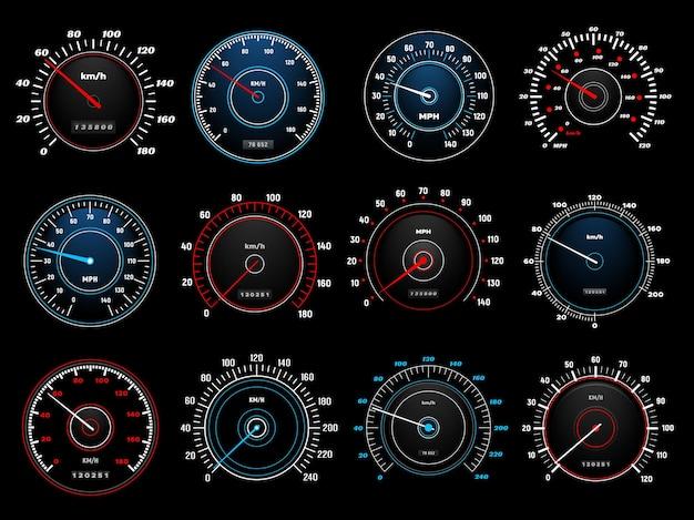 Prędkościomierze, skale wskaźników prędkości na desce rozdzielczej dla auto