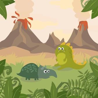 Prehistoryczna przyroda. krajobraz przyrody z sylwetką dinozaurów, gór, wulkanów