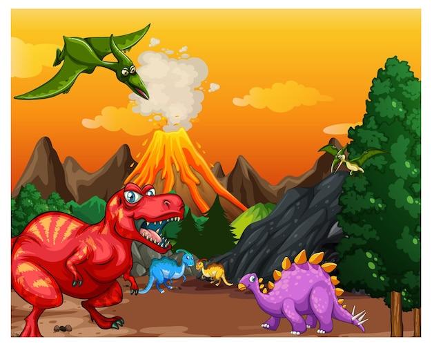 Prehistoryczna scena leśna z różnymi dinozaurami