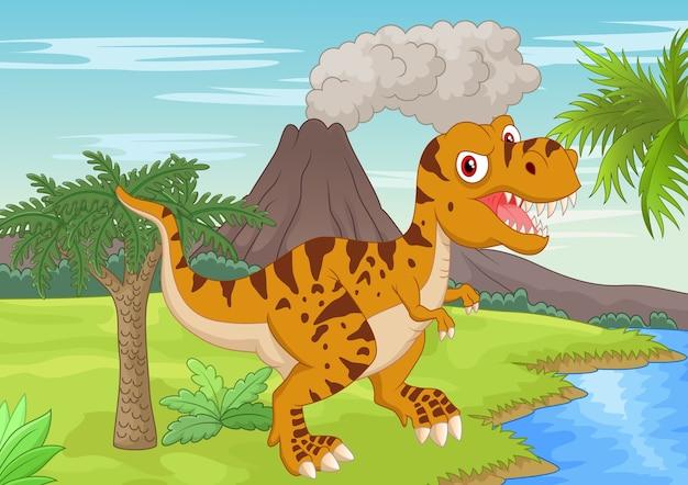 Prehistoryczna scena z tyranozaura kreskówką
