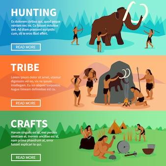 Prehistoryczne banery caveman stone age