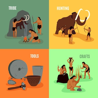 Prehistoryczne epoki kamienia 2x2 obrazy