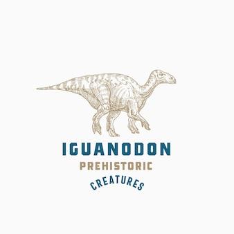 Prehistoryczne stworzenie dinozaura abstrakcyjny znak symbolu lub logo szablon ręcznie rysowane iguanodon gad z dow...