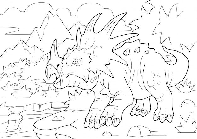 Prehistoryczny dinozaur rogaty styrakozaur, kolorowanka, zabawna ilustracja