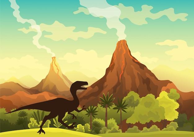 Prehistoryczny krajobraz - wulkan z dymem, górami, dinozaurami i zieloną roślinnością. ilustracja pięknego prehistorycznego krajobrazu i dinozaurów
