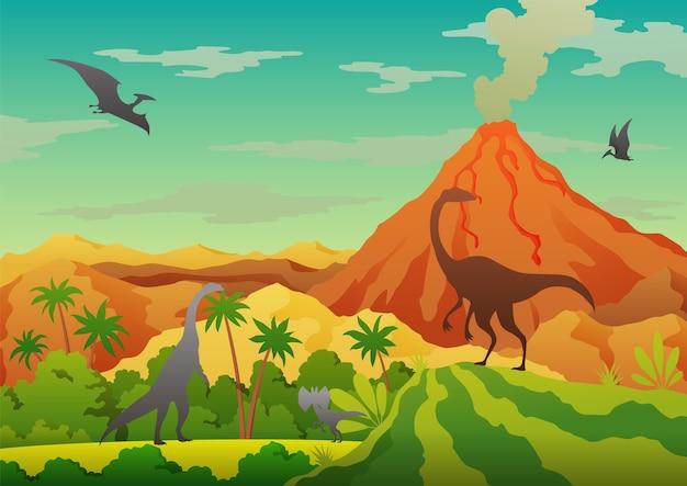 Prehistoryczny krajobraz - wulkan z dymem, górami, dinozaurami i zieloną roślinnością. pięknego prehistorycznego krajobrazu i dinozaurów.