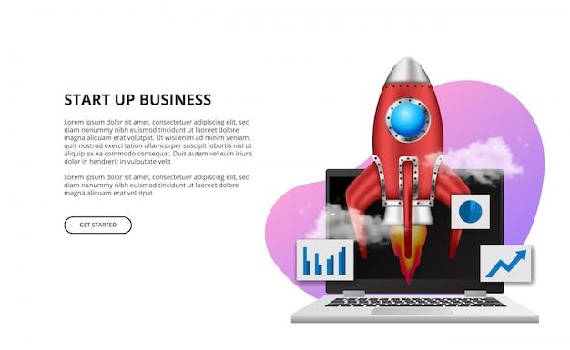 Premiera rakiety 3d dla nowego produktu biznesowego