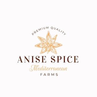 Premium anyżowy szablon logo anyżowy kwiat gwiazda sylwetka z retro typografią vintage przyprawą
