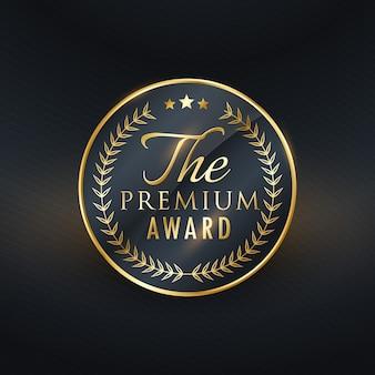 Premium award złoty projekt etykiety