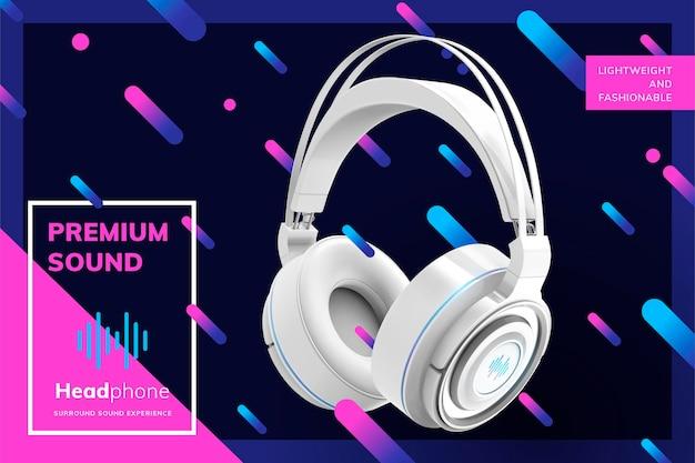 Premium biały baner słuchawkowy na modnej geometrycznej powierzchni linii w stylu 3d