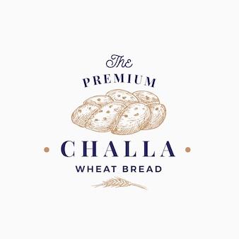 Premium challa chleb streszczenie znak symbol lub szablon logo