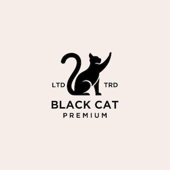 Premium czarny kot logo wektor ikona ilustracja projekt