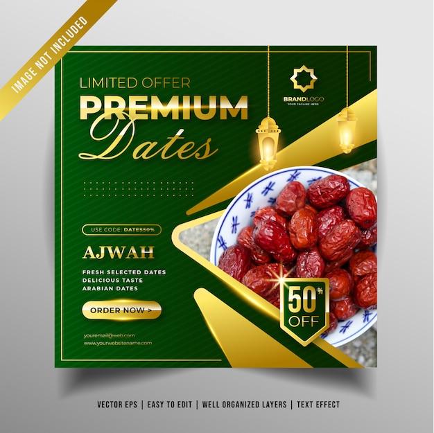 Premium design daty banner promocji w mediach społecznościowych