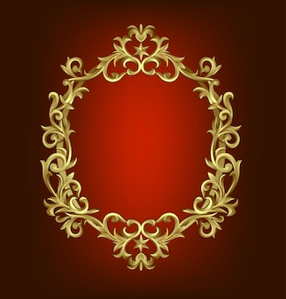 Premium gold vintage barokowa ramka przewiń ornament grawerowanie granica kwiatowy