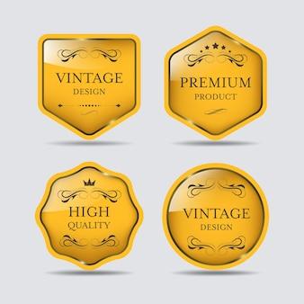 Premium jakości etykieta banner vintage luksusowy projekt odznaki