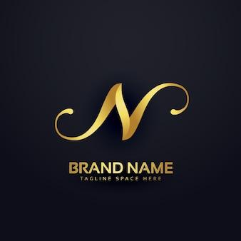 Premium litera n szablon projektu logo z efektem wirowa
