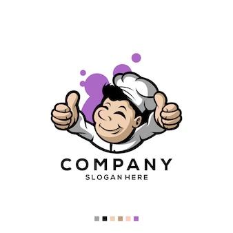 Premium logo kucharz wektor swobodny