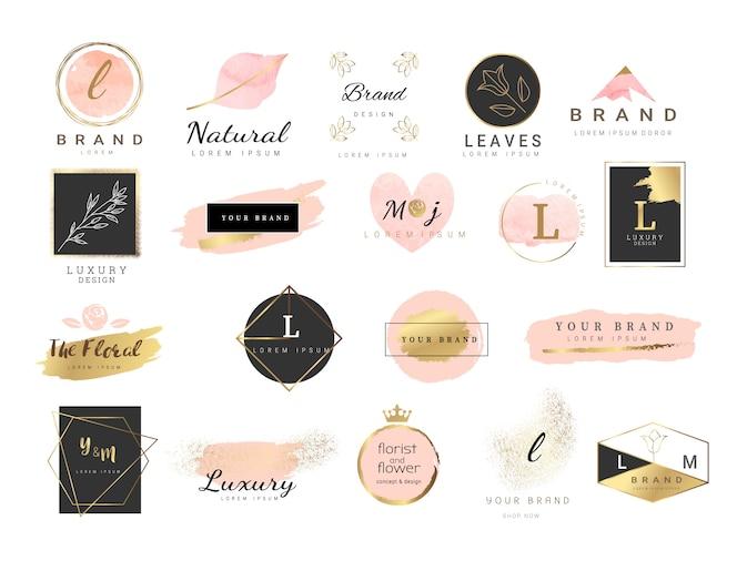 Premium logo szablon w stylu przypominającym akwarele