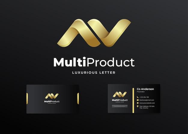Premium luksusowe list logo początkowe av i projekt wizytówki