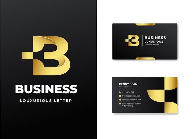 Premium luksusowe litery początkowe logo b i projekt wizytówki