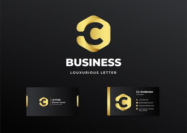 Premium luksusowe litery początkowe logo c i projekt wizytówki
