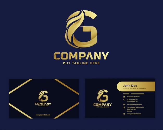 Premium luksusowy zielony liść litera g logo szablon