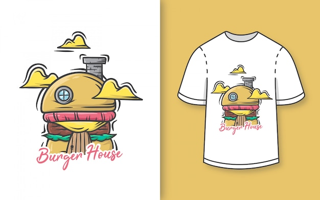 Premium ręcznie rysowane słodkie burger house ilustracja t shirt