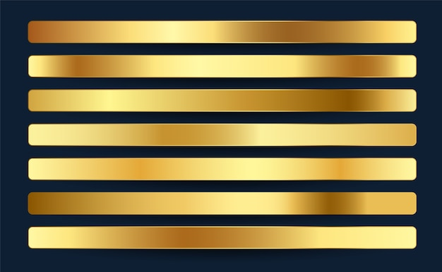Premium royal golden gradientów próbki palety projekt zestawu