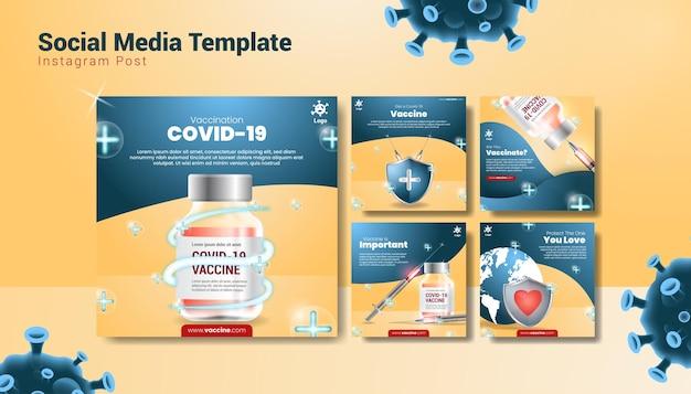 Premium szablon postu w mediach społecznościowych o szczepieniach przeciwko covid-19