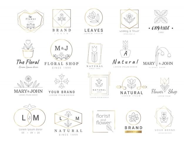 Premium szablony z logo kwiatowym
