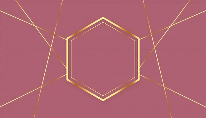 Premium sześciokątne złote linie tła ramki
