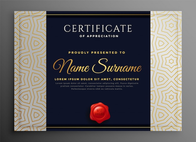 Premium uniwersalny szablon certyfikatu biznesowego koncepcji projektu